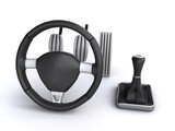 car controls steering wheels gear change foot pedals