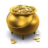 golden pot of gold coins