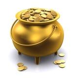 golden pot of gold coins