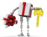robot present holding car key