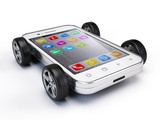 smart phone with wheels on it